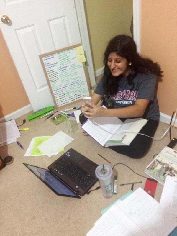 Sophomore Aliza Ali takes a Snapchat photo in the late evening hours instead of using her time to complete that night's homework assignments.