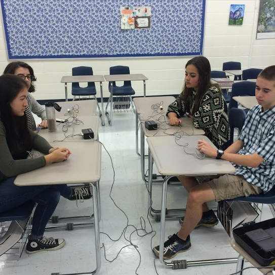 Varsity academic team members practice in Nancy Close's room  8 a.m. on Friday for their next meet.