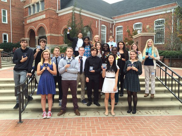 Starr's Mill award recipients pose with their medals on the steps of Clemson University. They won 18 out of the 19 student awards this year, with a winner in American Sign Language and three winners in multiple languages.