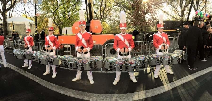 Nov. 26 - The tenors stand at attention and await the parade's start.  This year, two members of the Starr's Mill Panther Pride marching band were chosen to participate in the most watched parade of the year.