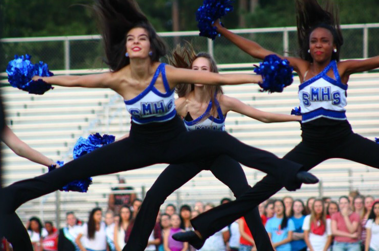 The Pantherettes dance team preps for competition season by performing before every home varsity football game.