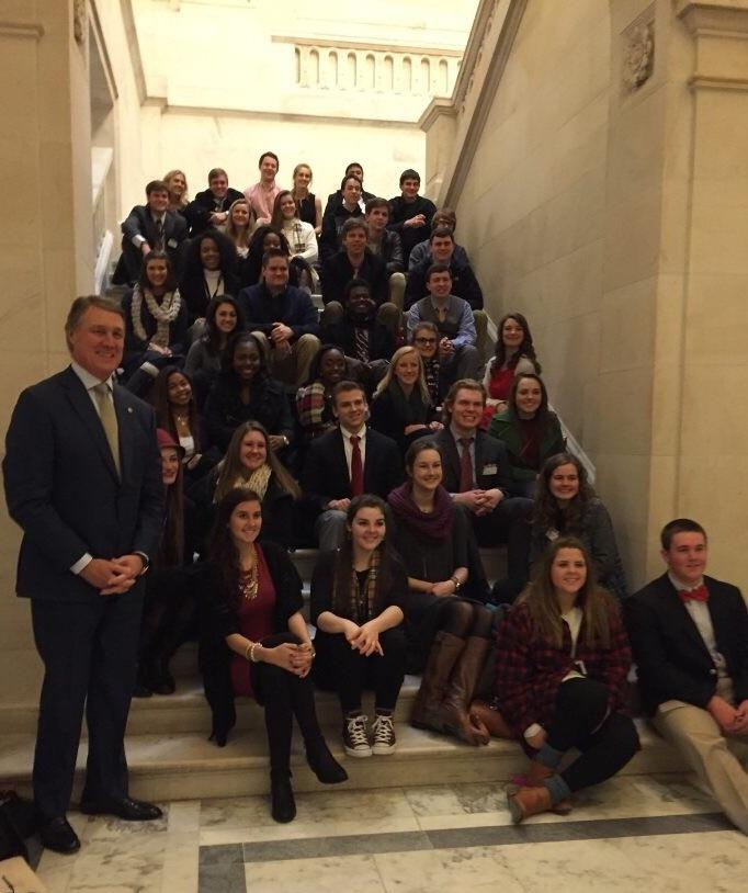 This year's Close Up attendees pose with Senator David Perdue. Students who attend the Close Up program in 2017 will have the rare opportunity to see a presidential inauguration and attend the inaugural ball.