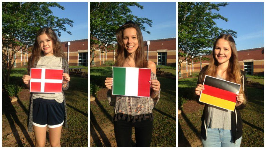 Three foreign exchange students enjoy their last few weeks at Starr's Mill and proudly display up flags from their native country. These students arrived last summer to immerse themselves in American high school culture.