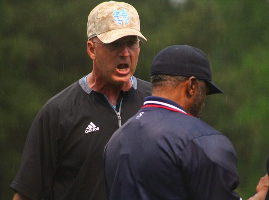 April 11, 2016 - Head coach Brent Moseley argues with the home plate umpire after senior Allen Shad was called out at home. Shad was immediately ejected from the game and was given a two-game suspension for illegally dislodging the ball from the catcher.