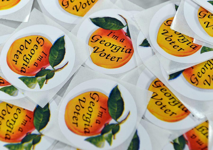 November 2, 2012: Georgia voters stickers at the Sandy Springs polling location  Friday November 2, 2012. BRANT SANDERLIN / BSANDERLIN@AJC.COM