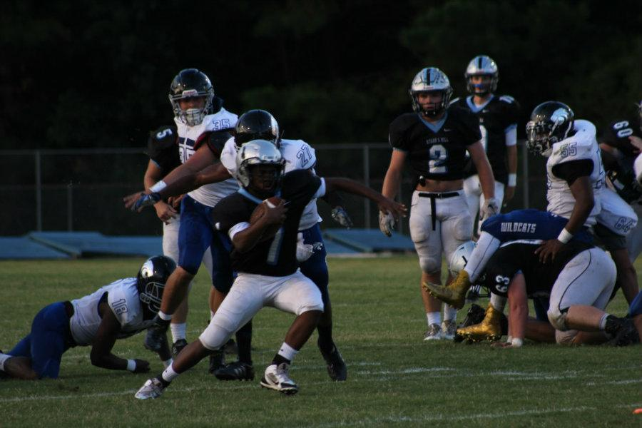 Aug. 12, 2016 - A Panther running back cuts upfield toward the end zone. The Panthers revamped their backfield this season, and plan to have a more deadly running attack than year's past.