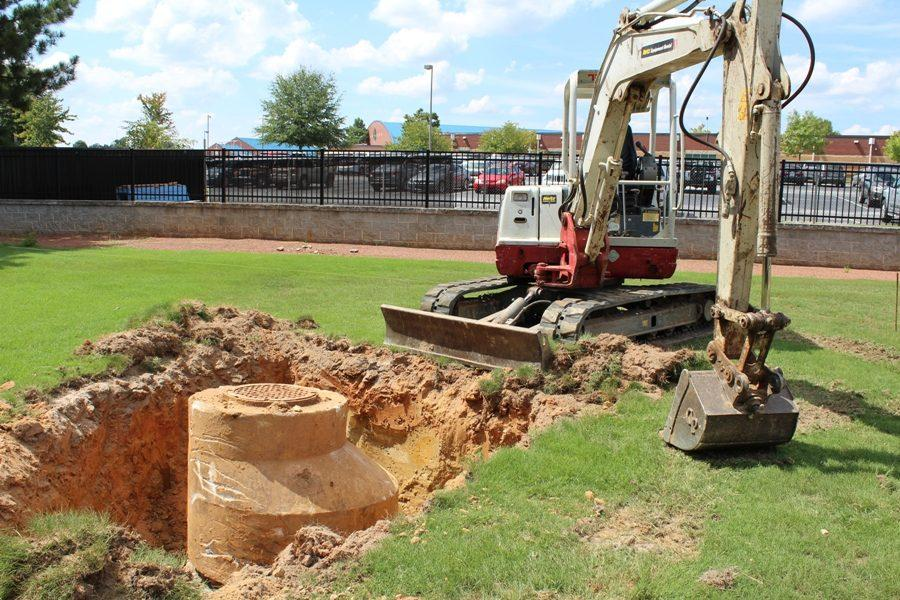 Precision Turf dug up the manhole cover that previously stuck out of right field. The manhole cover will be lowered down about four feet below grade, so that it will no longer get in the way of outfielders.