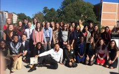 "All 33 of Starr's Mill competitors pose smiling on Clemson University's campus. The students competed in four different languages (French, German, Spanish, American Sign Language) out of a total nine (Chinese, Italian, Japanese, Latin, Russian). This was the 44th Annual Declamation Contest and five-year director Su-i Chen said that she is ""always so proud of our young generation's recognition of the importance of learning a modern language to reach out to the whole world."""