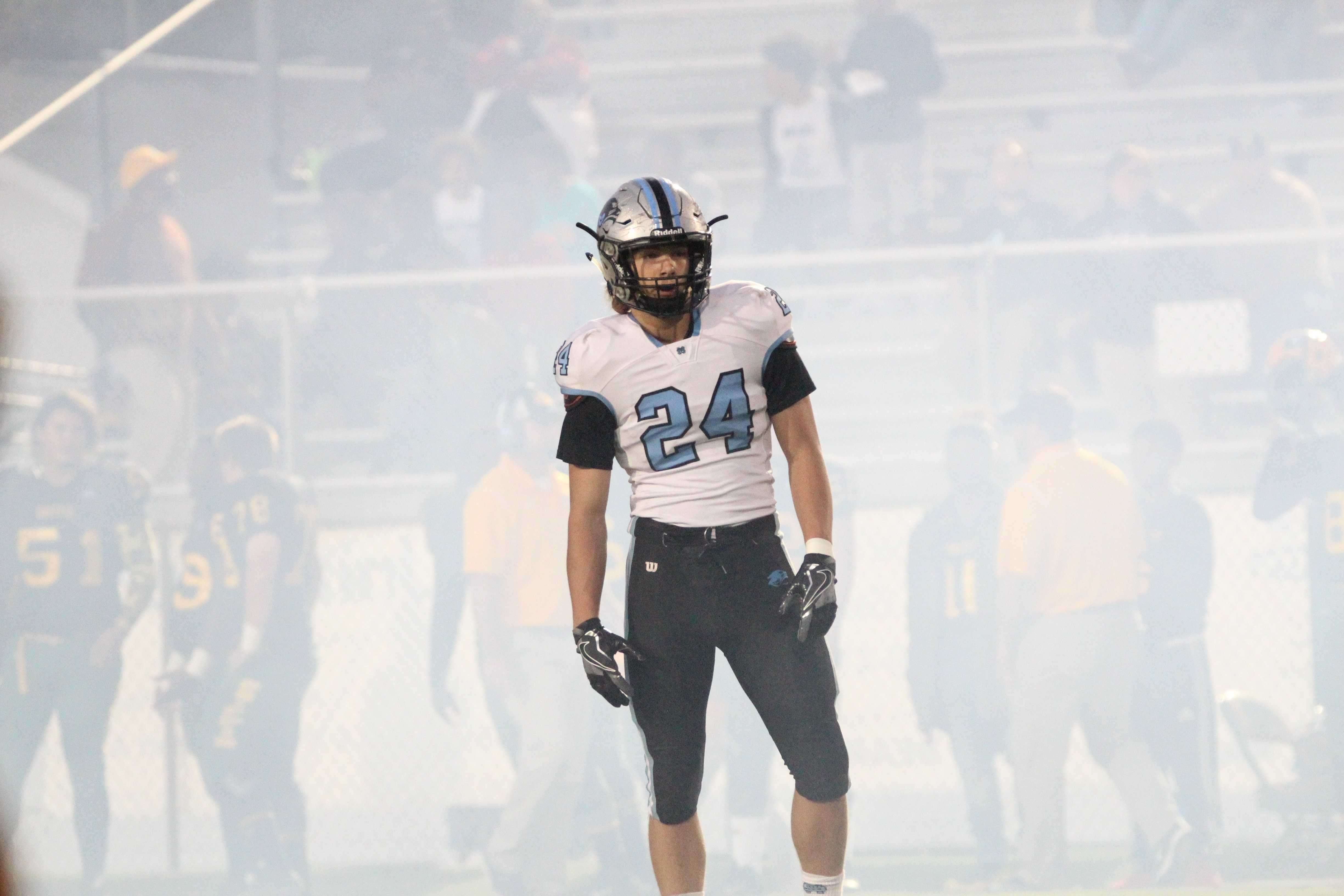 Junior defensive end Coltin Houser lines up for the opening kickoff against the Bears. The game featured two offenses that combined for over 1,000 total yards.
