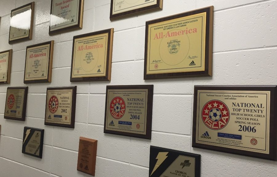 The hallway in the front office displays more than 15 previous athletic accomplishments awarded to the Mill. The location for the hall of fame is being pushed back two years. This delay will allow enough time for an official hall of fame committee to be formed. The committee will be responsible for nominating future inductees and setting a definite location for the display.
