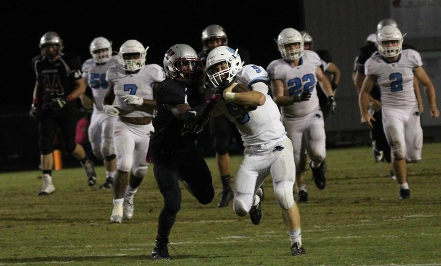 Junior Mitch Prowant races a Whitewater defender to the end zone. Prowant has scored nine touchdowns so far this season, rushing and receiving, and has been a catalyst in the Panthers' effective backfield.