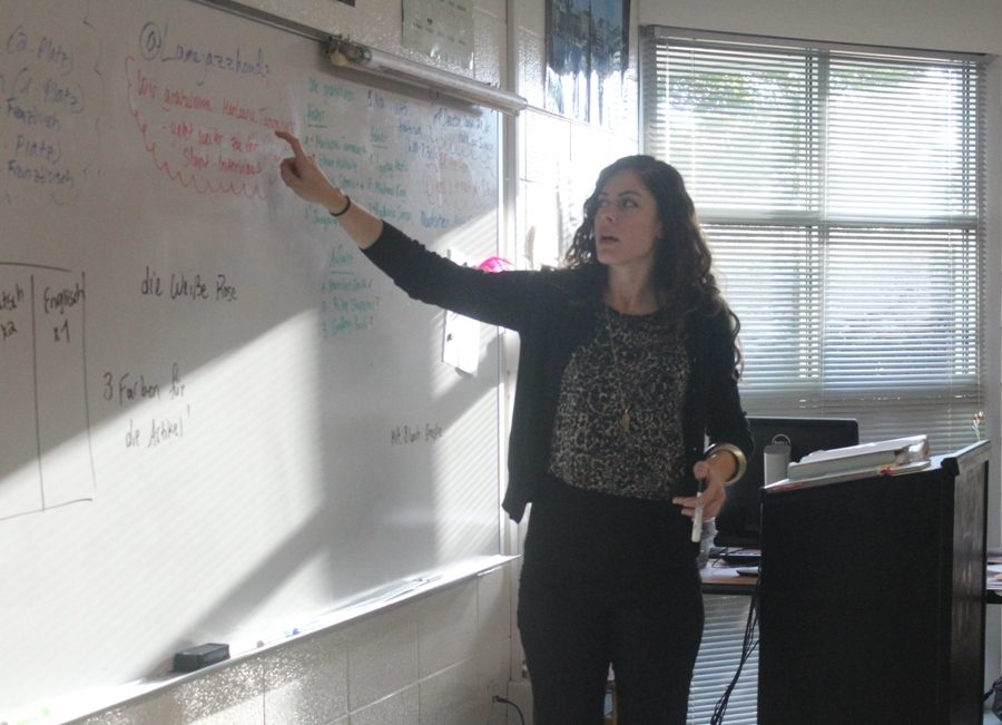 German+teacher+Antonela+Kljajic+teaches+German+to+high+school+students+first+through+fifth+period.+She+teaches+eighth+graders+at+Rising+Starr+Middle+School+at+the+end+of+the+school+day.+