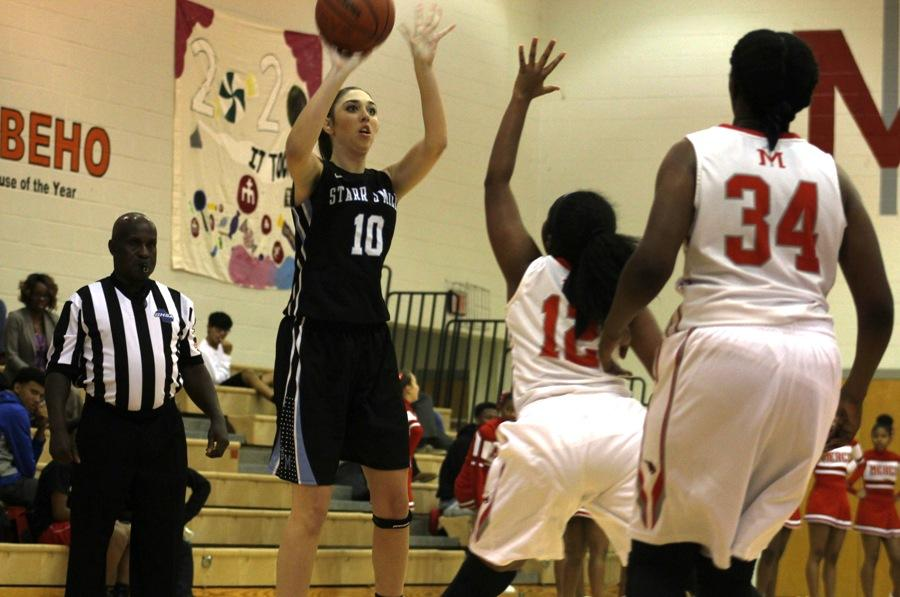 Senior guard attempts a shot against the Bobcats' two-on-one defense. The Lady Panthers only have three seniors this season on the varsity squad