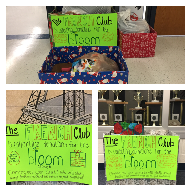 Starr's Mill's French club, Le Cercle Français, participates in The Bloom Closet charity organization for the third year in a row. There are three clothing donation collection boxes placed around the school: one by the attendance office, another in front of French room 656, and the third in the Starr's Mill front office. Donations began on Nov. 28 and ends on Dec. 16.