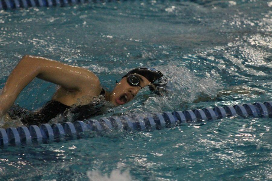 Sophomore Hayeon Choi swims freestyle at last week's county meet. Choi was one of the 21 swimmers to qualify for the upcoming state meet this weekend at Georgia Tech.