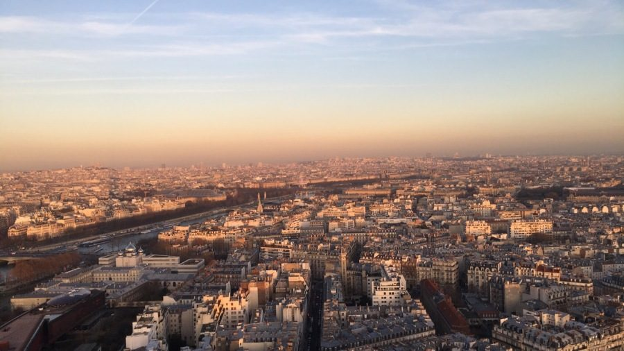 """Senior Devin Fourqurean took this picture while she admired the view from the top of the Eiffel Tower. """"It was really cool to see Paris from that high up, especially because you can't see the edge of Paris. It just makes you realize just how big and gorgeous [the city] is,"""" Fourqurean said."""