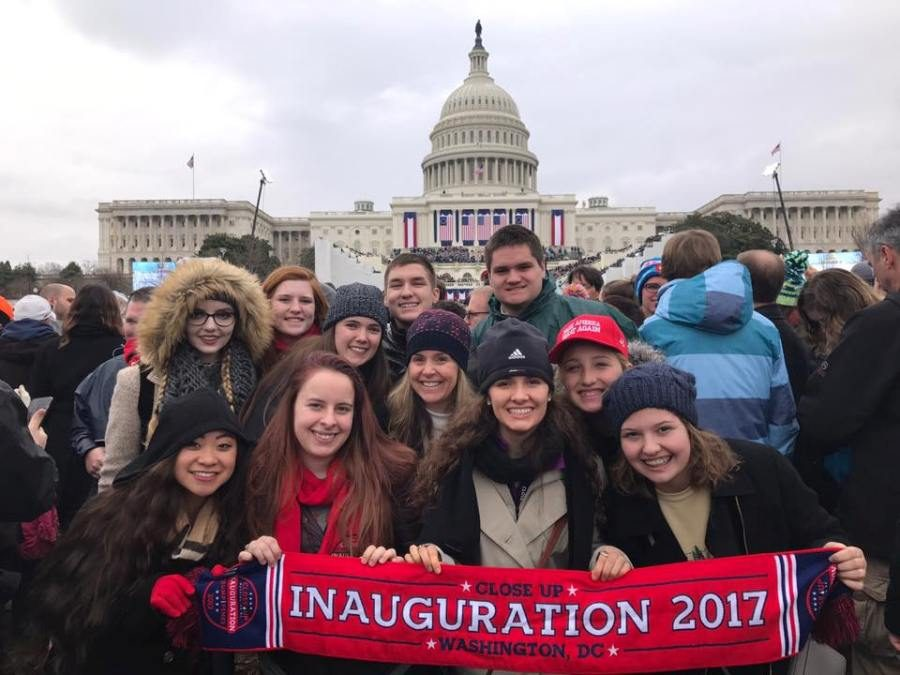 The heavy rain that was forecasted for Jan. 20 managed to hold off, giving 13 lucky Starr's Mill ticket holders a clear view of the Capitol Building and the inauguration ceremonies for President Donald Trump.