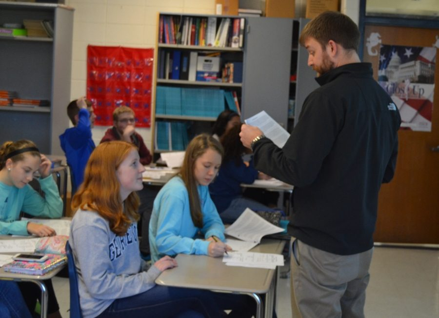AP Human Geography teacher Joseph Bara teaches a lesson on agriculture and climate zones.  Bara currently teaches three periods of AP Human Geography and plans for more in years to come.