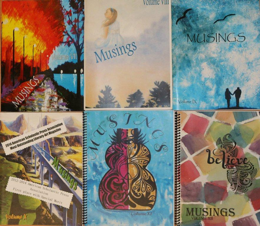 """Cover art of MUSINGS magazines from past years are displayed. """"Its really interesting to see the different works of literature and art that students submit,"""" senior and editor-in-chief of MUSINGS Walker Allen said."""