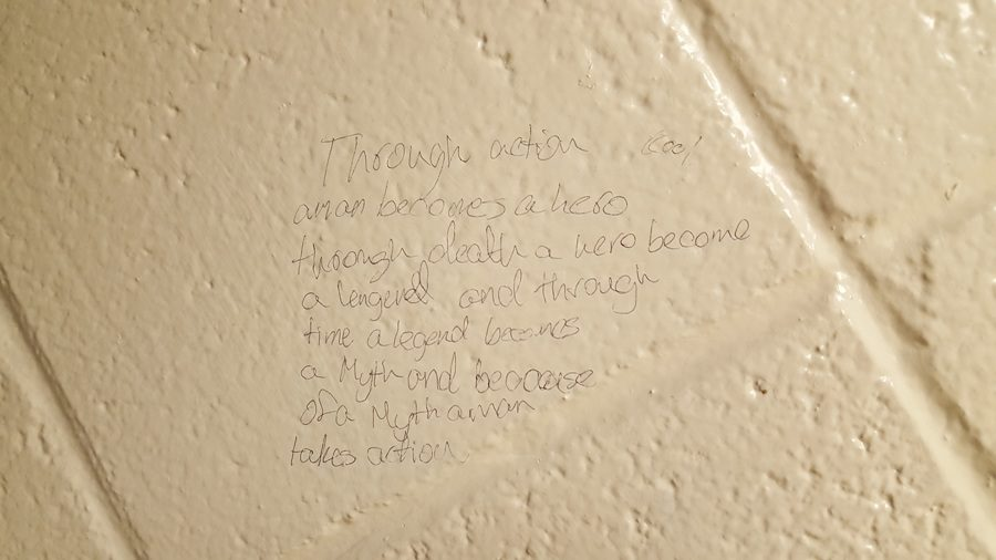 Bathroom graffiti by an anonymous student demonstrates the ability of artistic expression to also have value and meaning. While some disagree, it is certain that art is an interpretive concept left to be defined by the artist himself.