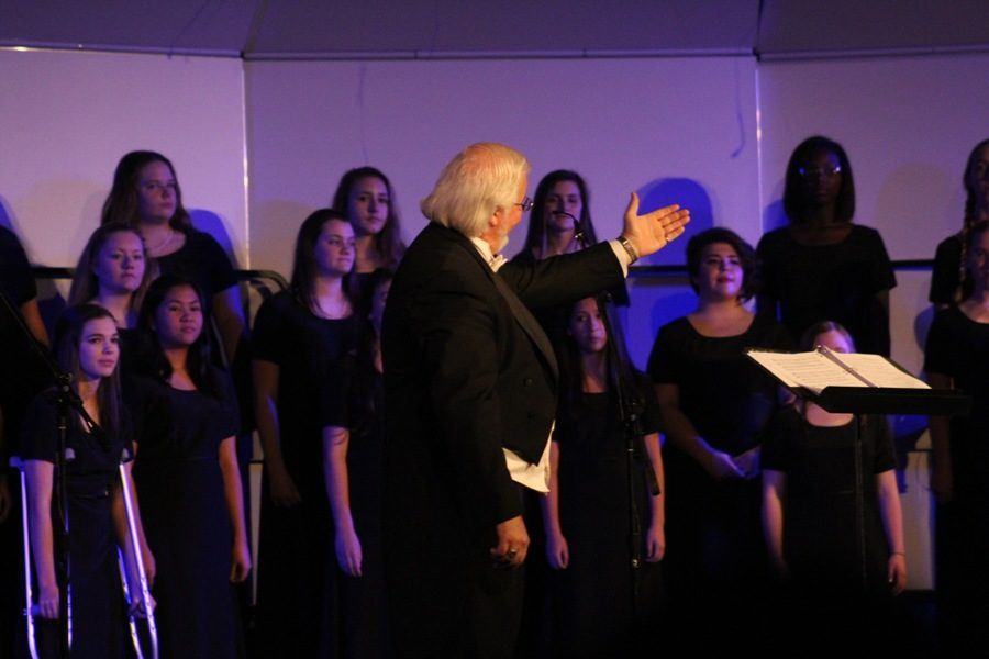 Dec. 6, 2016 - Chorus director Dr. John Odom conducts the chorus during their Christmas performance.