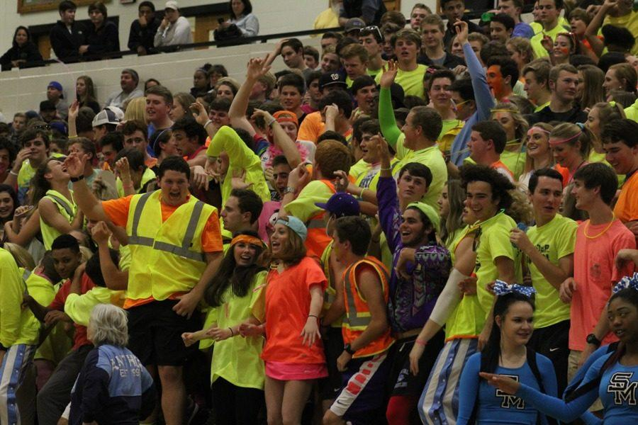 The Mill's Maniacs, the nickname given to the Starr's Mill basketball student section, cheer on the team against McIntosh during a regular season region match-up. During rivalry games the students follow the tradition of incorporating a theme to heighten the competitive atmosphere.