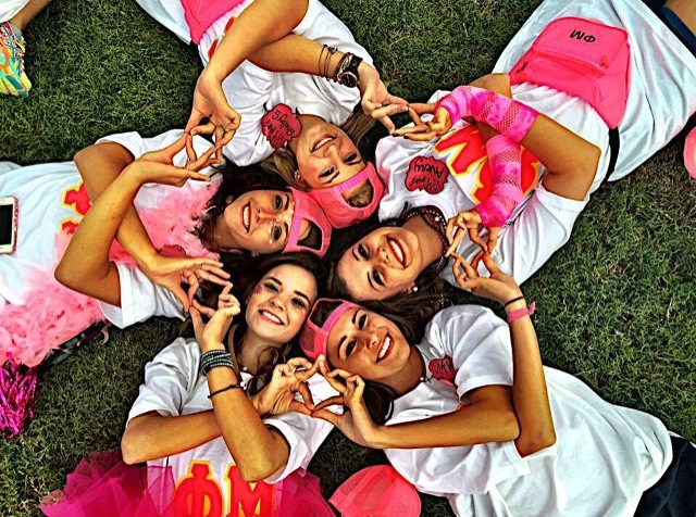 Mississippi State's Phi Mu sorority pose together for Derby Day. This annual charitable event takes place in the campus square where Phi Mu sorority members compete in sporting activities.