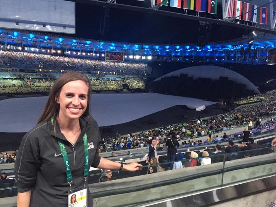 Starr's Mill High School alumnae Nicole Chrzanowski poses for a picture while covering the summer Olympics in Rio. Chrzanowski, a member of Gamma Phi Beta, will speak at the sorority informational meeting this Saturday.