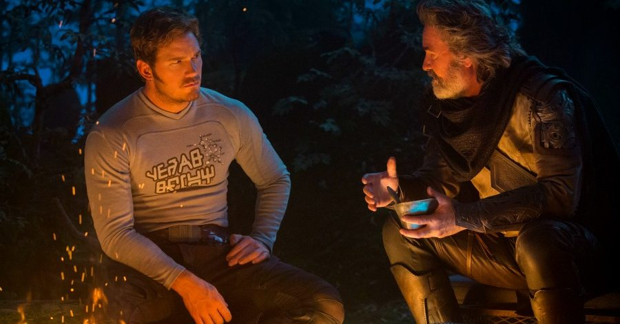 Peter Quill (Chris Pratt) and his father, Ego (Kurt Russell), meet for the first time next to the guardians' broken down ship. Quill's skeptical attitude toward Ego plays a key role in the plot of this film and adds to the mysterious unknown nature of the movie series.
