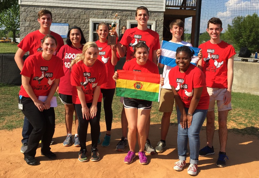 "Along with other activities, the Spanish Club participated in the annual foreign language kickball tournament this spring. ""I was so excited to see the members come together to to have a fun and eventful afternoon,"" club sponsor and Spanish teacher Shayne Thompson said. ""I'm excited to participate again next year."""