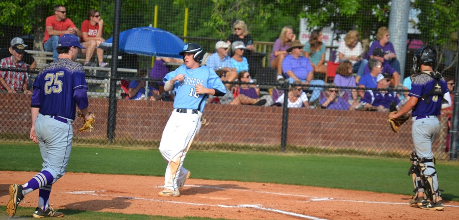 Senior Tyler Courtney scores another run for the Panthers. Starr's Mill defeated Bainbridge 16-1 and 9-4 in a doubleheader and will move on to round two of the state playoffs against Kell.