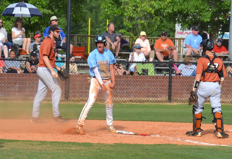 Senior Jake Arnold gets hype after sliding home. The Panthers defeated Kell in round two of the state playoffs 5-2, in both games of the doubleheader Wednesday.