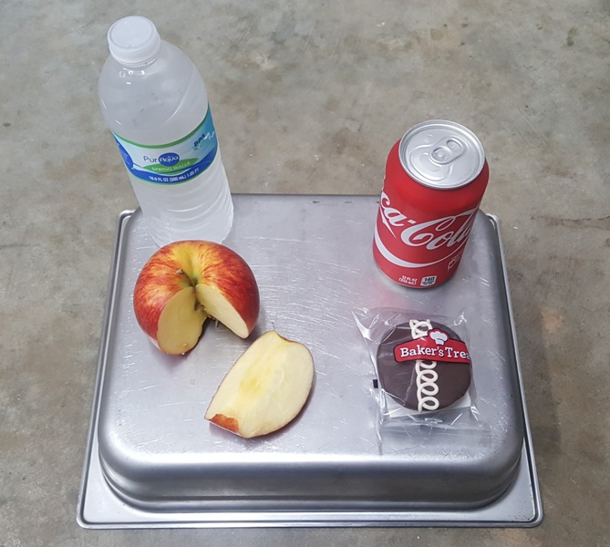 An+unhealthy+snack+option+of+a+cupcake+and+a+Coke+placed+next+to+the+healthy+alternative+of+an+apple+and+a+water.+Decisions+between+these+two+snacks+are+hard+to+make%2C+because+students+value+taste+over+nutrition.+