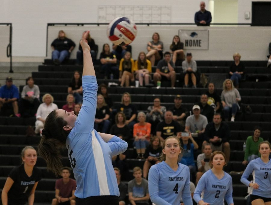 A Lady Panther hits the ball as it comes her way. The Mill defeated Harris County 3-0 in the elite eight to set up the team's third match against McIntosh this season.