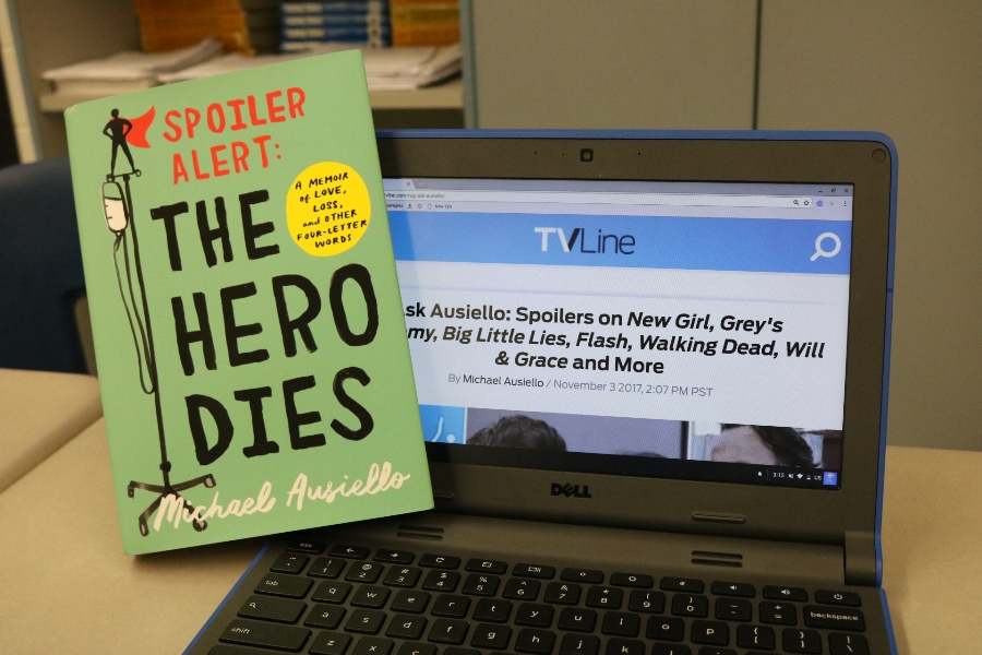 """Spoiler alert: the hero dies"" is the eye-opening story of Michael Ausiello's relationship with his long-term boyfriend Kit Cowan before and after the cancer diagnosis that changed their lives. This novel uses dark humor and years of beautiful memories to paint a detailed picture of their time together in an awe-inspiring way."