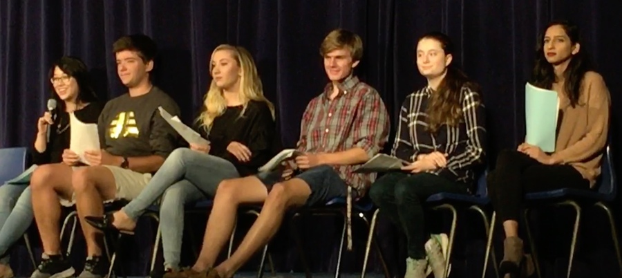 """A student panel leads an interactive discussion along with the viewing of the documentary """"Screenagers."""" This documentary features the wide-spread use of technology and the impact it is having on today's youth."""
