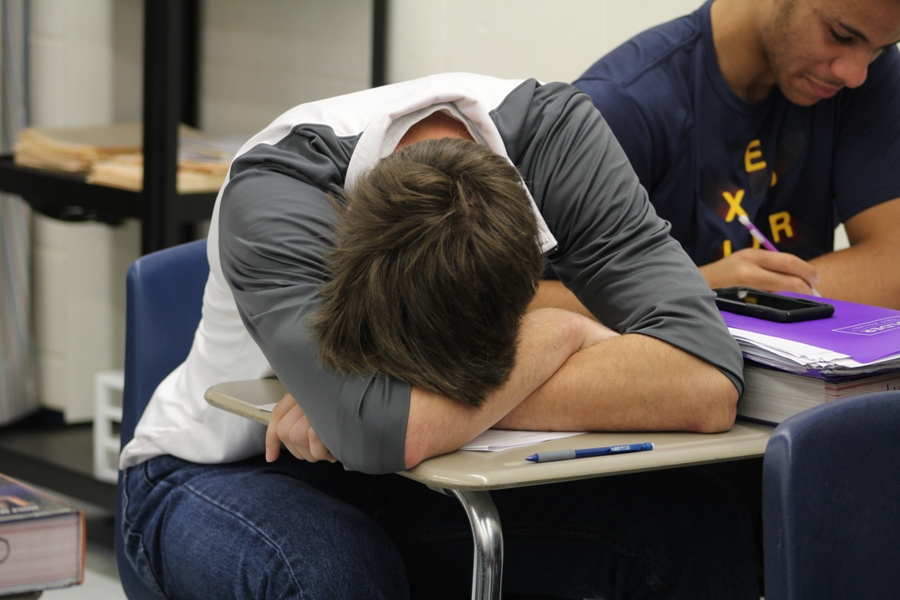 Finding a student catching up on lost sleep while in class is not an uncommon sight in most high school classrooms. Getting fewer hours of rest at night makes it much easier to have less motivation in school and other activities.