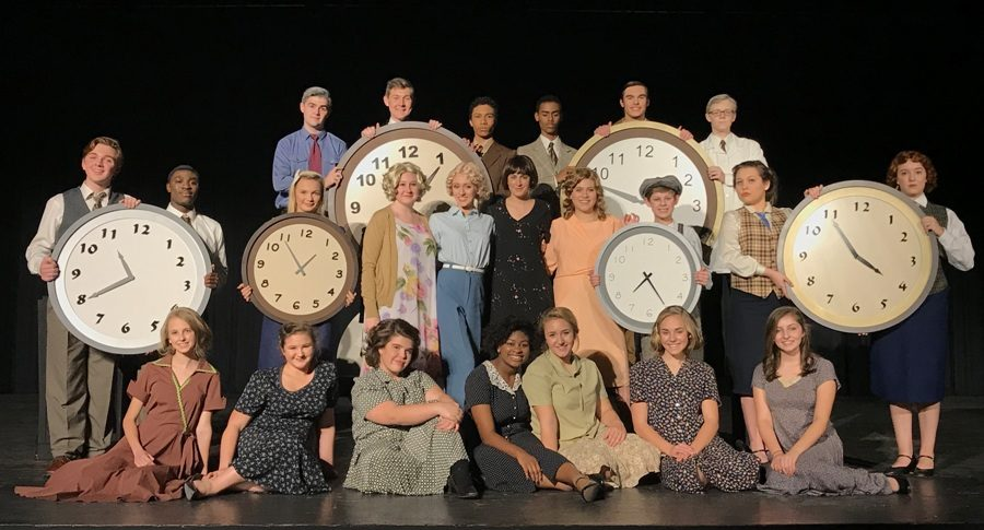 The+cast+of+%E2%80%9CThese+Shining+Lives%E2%80%9D+poses+while+on+the+stage+of+the+Willie+Duke+Auditorium.+The+group+won+the+regional+One+Act+Play+competition+and+the+AAAAA+state+competition+for+the+first+time+in+Starr%E2%80%99s+Mill+history.++