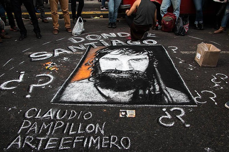 """This is the picture used when people would protest for Santiago Maldonado. His picture and the sentence """"Where is Santiago Maldonado?"""" would be drawn, spray-painted, printed, and written all over Argentina."""