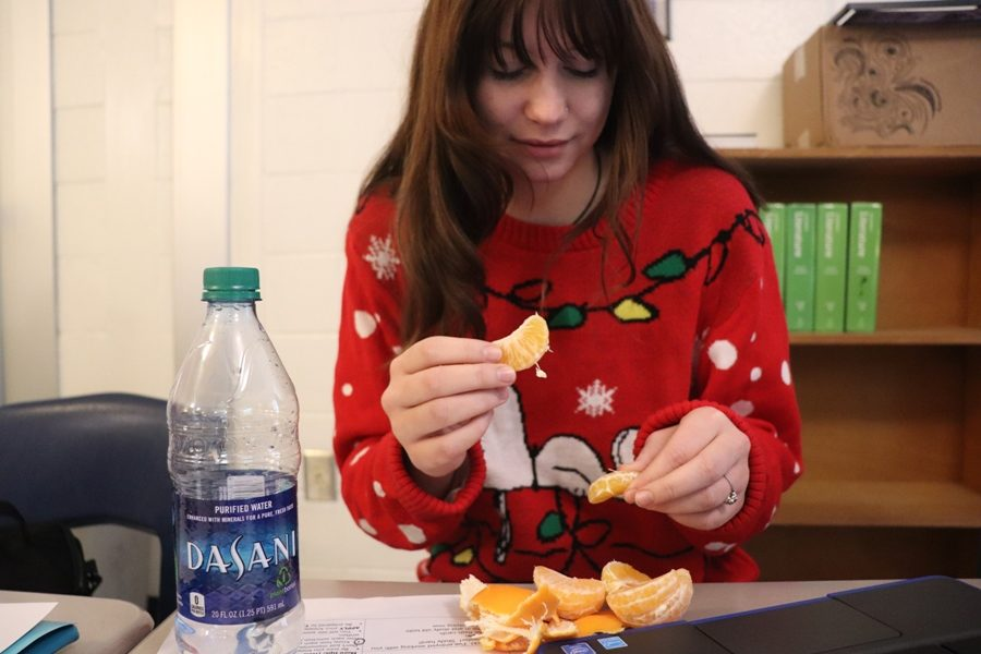 Starr's Mill student enjoys an orange as a healthy snack alternative to chips or cookies. Eating fruits and vegetables, as well as drinking plenty of water, may help subdue an individual's appetite between holiday meals.