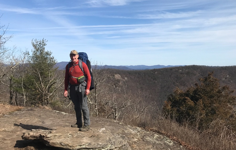 Bobby Joe Smith starting out his long journey in the mountains of north Georgia with his 45-pound backpack. Smith started his journey in north Georgia and finished the journey in Maine.