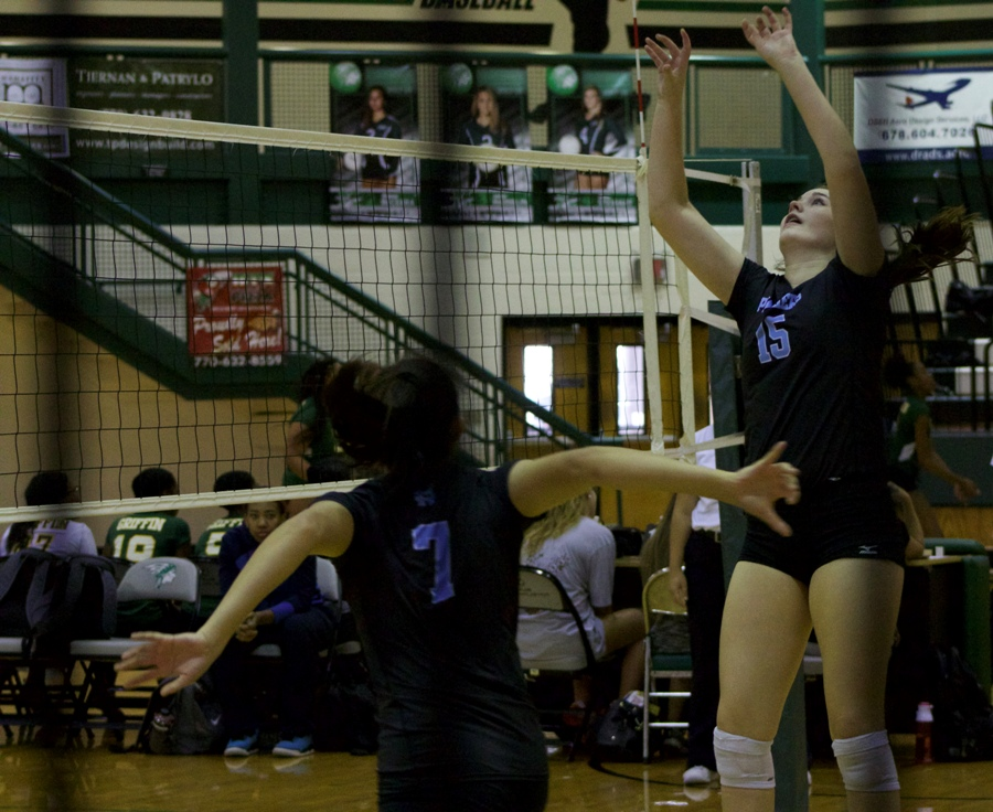 A Starr's Mill volleyball player extends to hit the incoming volleyball. Multiple volleyball players were honored at county and state levels after yet another successful season.