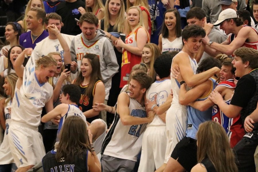 Multiple+Panther+players+celebrate+with+the+student+section.+The+large+crowd+inside+the+Panther+Pit+celebrated+the+Panthers%E2%80%99+avenging+their+Dec.+5+loss+to+the+Chiefs.