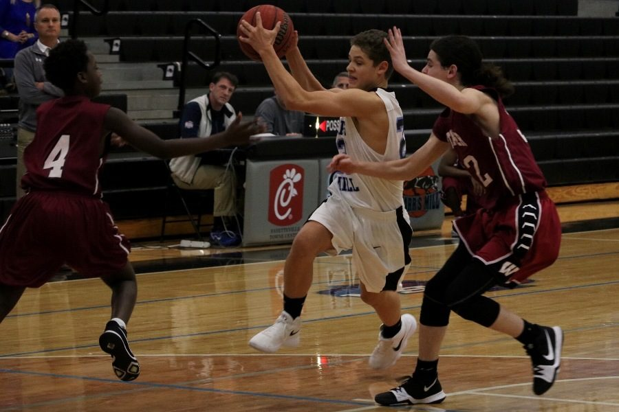 A sophomore guard drives the ball to the hole. The Panthers were able to get to the free throw line often by driving to the basket, but failed to convert on several attempts.