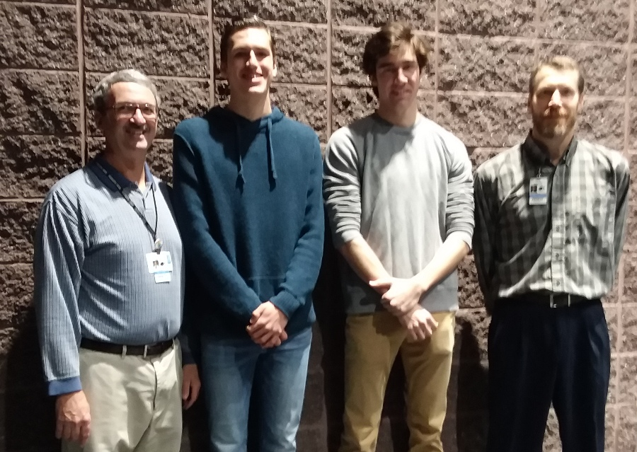 Seniors Devin Lohman and Bryce Smith stand next to Star Teachers Dan Gant (left) and Todd Little (right). The students earned the title of Star Student after they received the highest SAT scores in the senior class and then gave their most influential teacher the Star Teacher award.