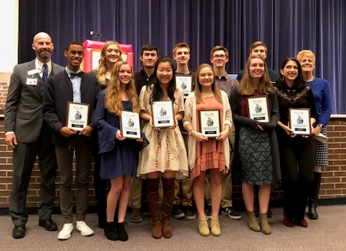 Students nominated for Governor's Honor Program attended an award ceremony and received plaques that commemorated their participation. A school record of 13 students will be moving on to the state interview portion of this competition. The students picked from state will then be invited to attend a four week educational program at Berry College this summer.