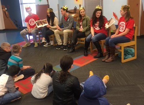 Spanish Honor Society students read bilingual books to children ages four through eight. Bilingual Storytime is an activity started by Spanish teacher Madeline Rodriguez that strives to expose young children to a new language and create a positive environment through learning.