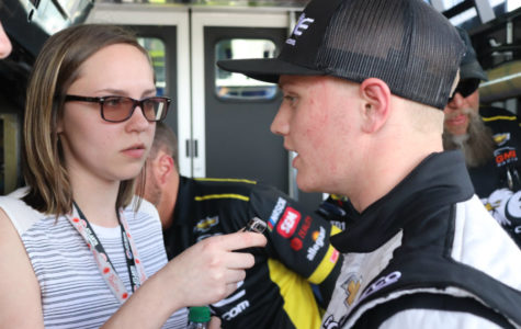 NCWTS driver Justin Haley answers a question from Staff Writer Ashton Long.  Haley topped the speed chart in the opening practice session.