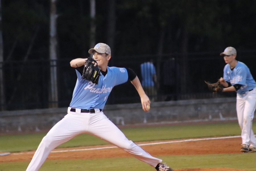 Panther pitcher delivers the ball. Starr's Mill pitched very well throughout the entire game, only giving up three hits and no runs.