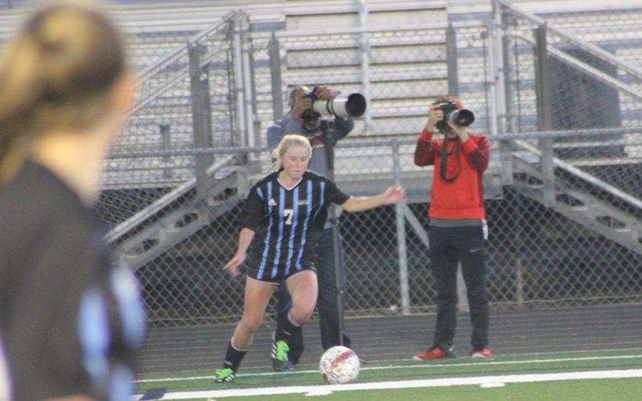 A Panther prepares to kick the ball in. The Lady Panthers struggled to get the ball on their side in the first half, but were able to turn things around and keep possession of the ball in the second half.